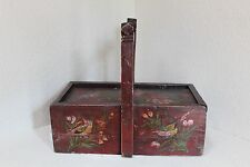 Antique Chinese Handled Wood Dou Basket Hand Painted Red Lacquer