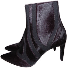 $1635 Balenciaga Pointy Toe Plum Pony Hair Ankle Boot Gored Graphic Bootie 39.5