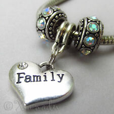 Family Heart Pendant And Birthstone Beads For European Charm Bracelets