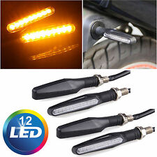 4X Universal Motorcycle 12 LED Turn Signal Indicators Blinker Amber Light Black