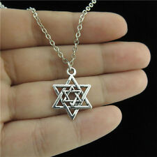 """18"""" Chain Alloy Collar Short Necklace Silver Two Star of David Jewish Pendant"""