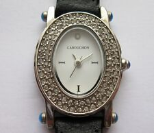 Cabouchon Quartz Diamond Studded Bezel Ladies Watch With Black Leather Strap