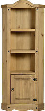 CORONA CORNER TALL UNIT IN DISTRESSED WAX PINE - FREE NEXT DAY DELIVERY