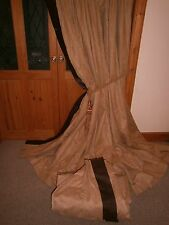 "Huge Ex Hotel Latte Suede Curtains 93""Drop x 348""Wide.Blackout MTM. TPP PAIR 2"