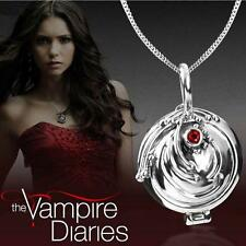 The Vampire Diaries Elena Gilbert Vintage Antique Silver Locket & Necklace Set