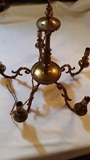 Antique 5 Arm French style Cast Bronze & Gilt Ceiling Chandelier for Renovation