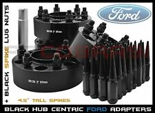 Complete Set Ford 6x135mm Black Hub Centric Wheel Spacers 14x2.0 Spike Lug Nuts