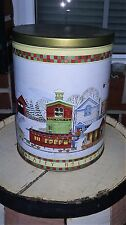 1993 Trails End MOUNTAIN CHRISTMAS HOLIDAY VILLAGE TRAIN Tin Container Canister