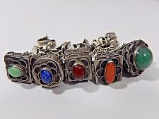 ANTIQUE ETRUSCAN PERUZZI STYLE 800 SILVER BRACELET W/ 5 HUGE GEMSTONE FOB CHARMS