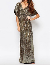 First & I Sequin Kimono Sleeve Maxi Dress- Gold Sequin S RRP £48