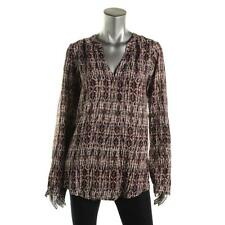 Velvet 2288 Womens Brown Pattern Long Sleeves Pullover Top Shirt L BHFO