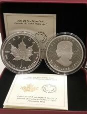 2017 2OZ Iconic Maple Leaf Canada 150th Birthday $10 Pure Silver Coin.