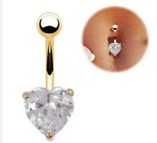 New Gold Surgical Body Piercing Jewelry Steel Navel Belly Button Bar Ring Heart