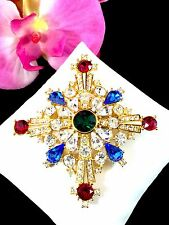 STUNNING TRIFARI TM SAPPHIRE RUBY RED EMERALD RHINESTONE MALTESE CROSS BROOCH