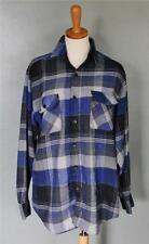 Vtg 80s Pine Grove Plaid flannel Shirt men M Blue black gray Grunge punk F02