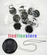 10pcs 77mm Center-Pinch Front Lens Cap + String for Nikon Canon Sony Olympus 10x