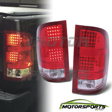 2007-2013 GMC Sierra 1500/2500 HD/3500 HD Red Clear LED Tail Lights Pair