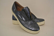 CARA BLUE METALLIC LEATHER TRAINERS PUMPS SLIP ON FLATS UK 5 EU 38 rrp £99