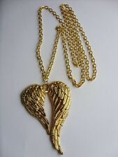 """A Gold Tone Large Angel Wings Charm Pendant 70mmx46mm,  30"""" Long Chain Necklace"""