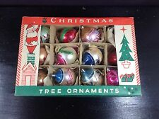 12 VINTAGE CHRISTMAS TREE GLASS TEARDROP ORNAMENTS POLAND WITH BOX - C