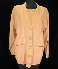 ESCADA Margaretha Ley 36 S Apricot Wool Sequins Sweater Cardigan 2 pc Twinset