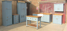 SPECIAL OFFER SET OF 7 FREESTANDING HANDMADE KITCHEN PAINTED PINE UNITS OAK TOP