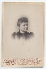 CABINET CARD WOMAN WITH NICELY STYLED HAIR IN PERIOD DRESS. NEWPORT, PA.