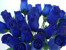 100 WHOLESALE CLEARANCE NAVY BLUE WOODEN ROSES ARTIFICIAL FLOWERS GIFT /WEDDINGS