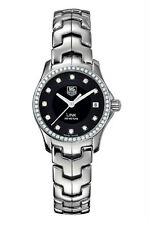 AUTHENTIC TAG HEUER WOMENS LINK WJF131A.BA0572 DIAMOND BEZEL BLACK QUARTZ WATCH