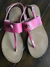 NEW Joie Bastia Nice Pink T Strap Thong Leather Sandals 39 8 8.5 9