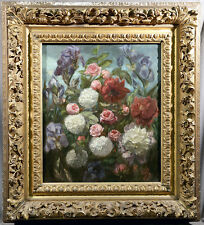 French 19th Century Floral Oil Painting Signed Simon Saint-Jean Carved WoodFrame