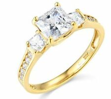 1.75 ct 14K Yellow Gold Engagement Ring Princess Cut 3 Stone Diamond Engagement