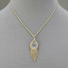 Gold Necklace Clear Quartz Stone Pendant Tassels Bohemian Style Inspired