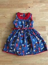 Girls Next skater dress age 2-3 years blue dog print belted lined