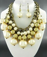 Burnish Gold Tone Metal Link Cream Faux Pearl Chunky Necklace Earring Set