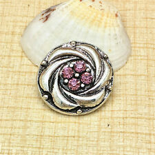 NEW Fashion Rhinestone Pink Charm Chunk Snap Button fit for Noosa Bracelet IWD97