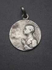 Ancienne médaille religieuse pendentif argent massif communion signé