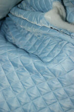QUILTED FABRIC QUILT PADDED MATERIAL SANDWICH FABRIC SKY BLUE DIAMOND POLYESTER