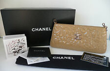 CHANEL camellia embossed patent camel CLUTCH bag EVENING rose gold hardware VGC