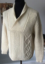 vintage Gaeltarra of Ireland ~ pure new wool Aran white sweater shawl neck ~ 40""