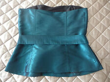 Teal Blue Bodice Corset Boned Style Party Top +Straps Blue Top Size 10 M&S £35BN