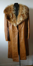 Vtg 70s Womens Big Fur Collar Leather A-Line Coat Jeno Montreal Canada