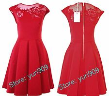 Ted Baker London Bright Red Dollie Embroidered Cut Out Dress Size 1 (US 4) $279