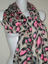 NEW PINK LEOPARD SCARF SHAWL STOLE GIFT SHAWL NIGHT PARTY PASHMINA JEAN SEXY GRE
