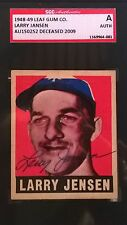 Larry Jansen Signed 1948-49 Leaf Card #56 SGC Authentic Slabbed