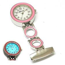 The Olivia Collection White Dial Pink Link Chain Nurses Fob Watch with Backlight