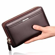 Men's Leather Business Purse Zip Wallet Credit Card Holder Long Clutch Checkbook