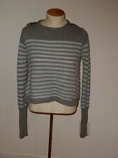 FREE PEOPLE GRAY LONG SLEEVE KNIT WOOL BLEND PULLOVER SWEATER SIZE XS
