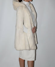 Vintage Hooded White Rabbit Fur Cape  Coat
