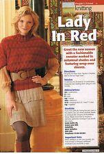 Dama en Rojo Tejer patrón de revista-Suéter Con Mangas De Abrigo-over